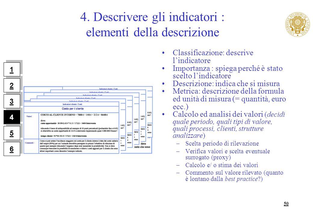 4. Descrivere gli indicatori : elementi della descrizione