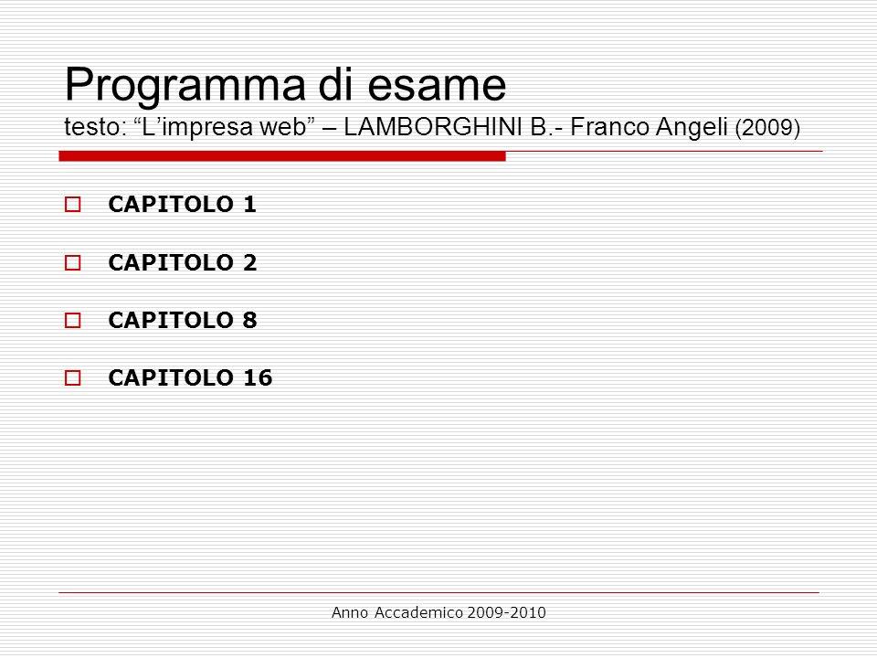Programma di esame testo: L'impresa web – LAMBORGHINI B