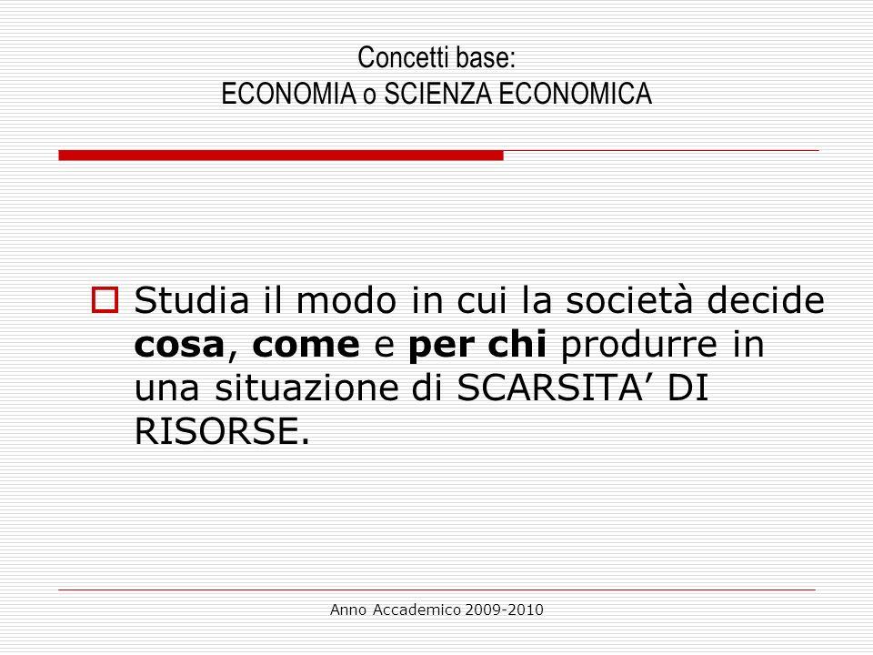 Concetti base: ECONOMIA o SCIENZA ECONOMICA