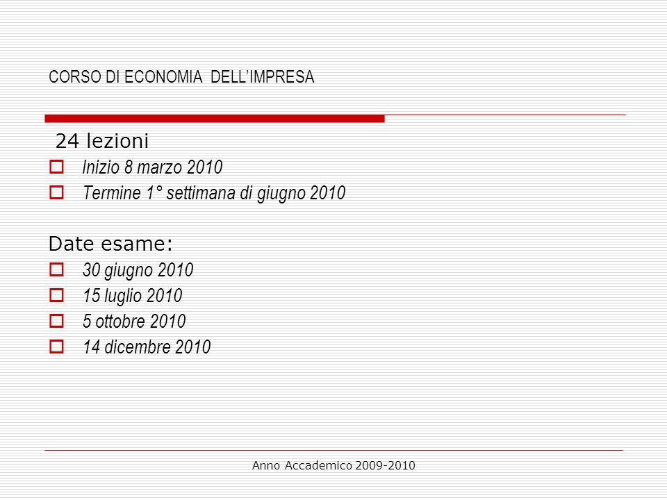 CORSO DI ECONOMIA DELL'IMPRESA