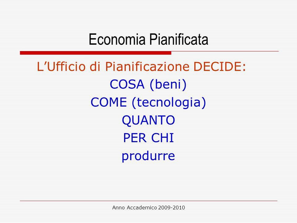 Economia Pianificata L'Ufficio di Pianificazione DECIDE: COSA (beni)