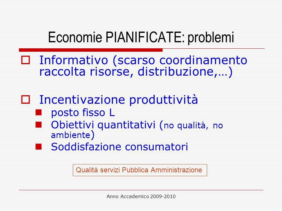Economie PIANIFICATE: problemi
