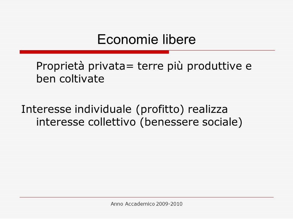 Economie libere Proprietà privata= terre più produttive e ben coltivate.