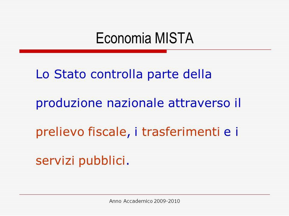 Economia MISTA Lo Stato controlla parte della produzione nazionale attraverso il prelievo fiscale, i trasferimenti e i servizi pubblici.