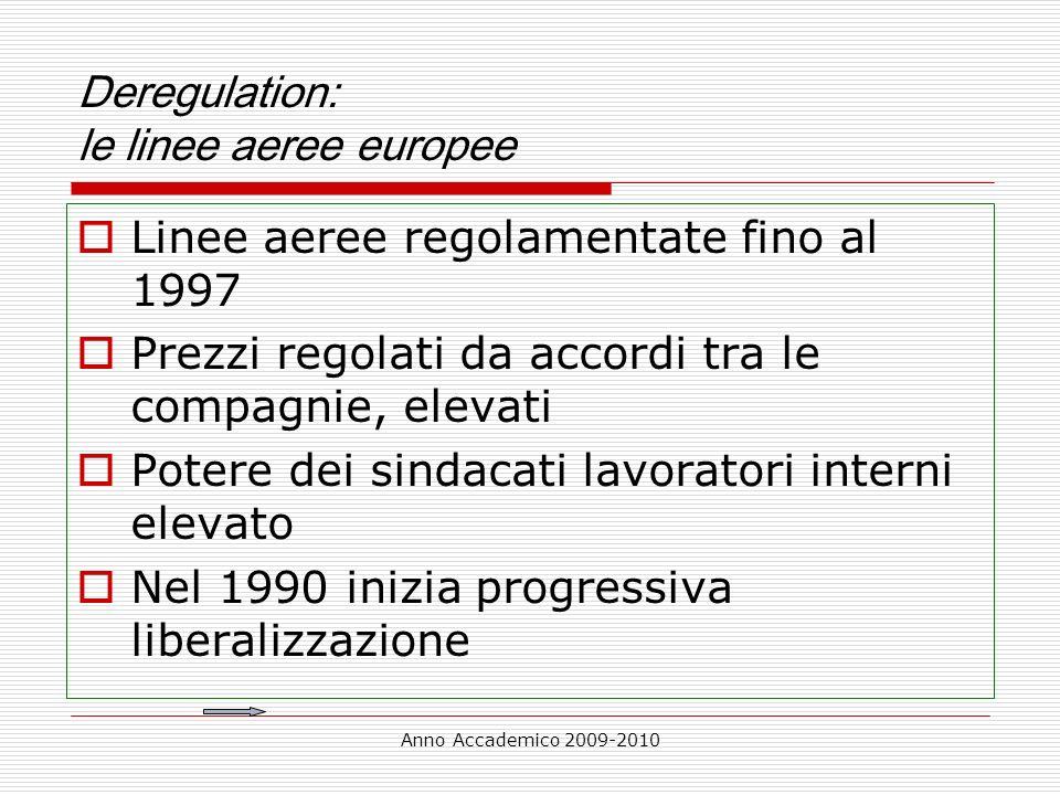 Deregulation: le linee aeree europee