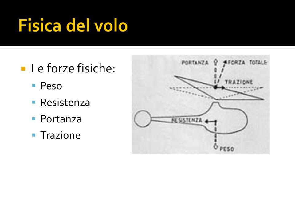 Fisica del volo Le forze fisiche: Peso Resistenza Portanza Trazione