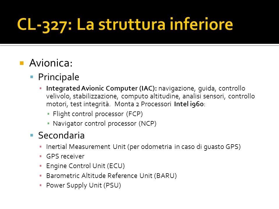 CL-327: La struttura inferiore