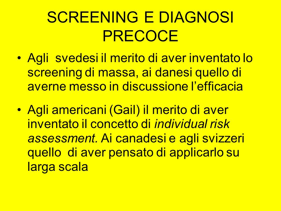 SCREENING E DIAGNOSI PRECOCE