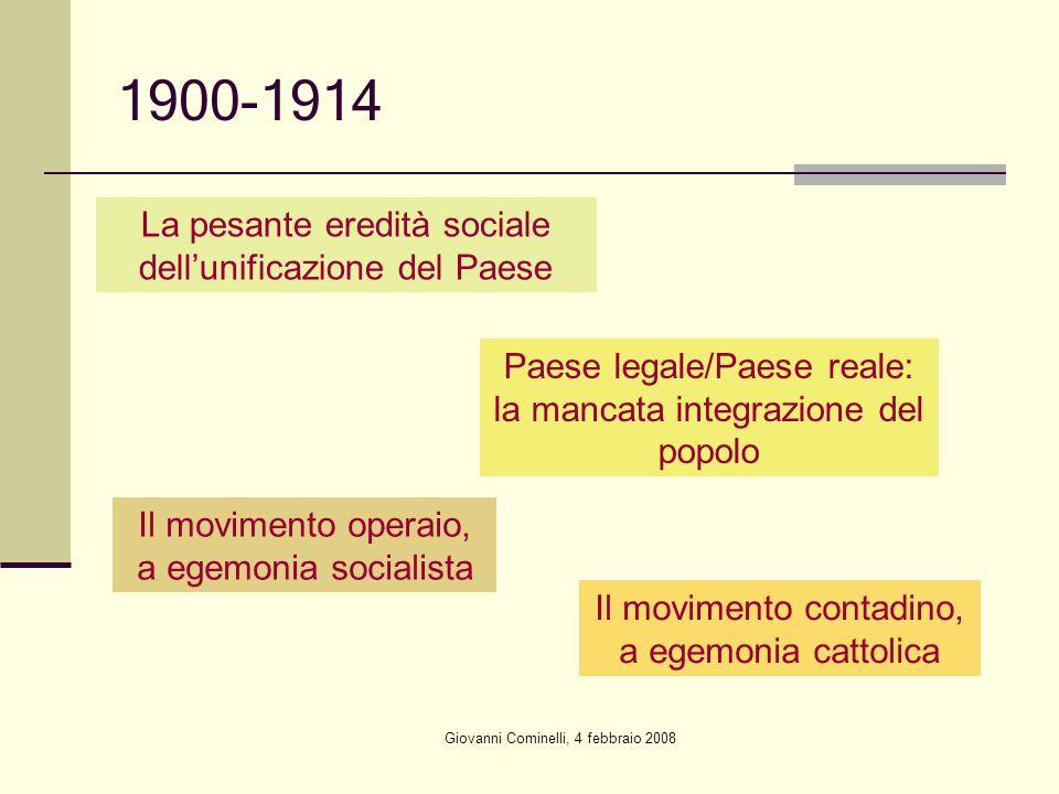 1900-1914 La pesante eredità sociale dell'unificazione del Paese