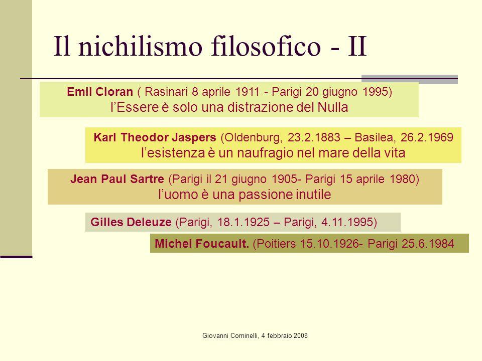 Il nichilismo filosofico - II