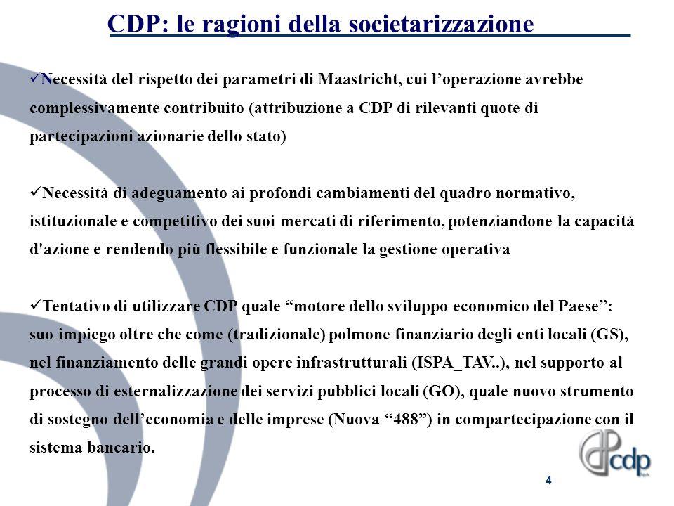 CDP: le ragioni della societarizzazione