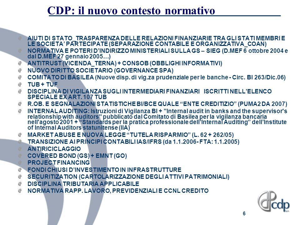 CDP: il nuovo contesto normativo