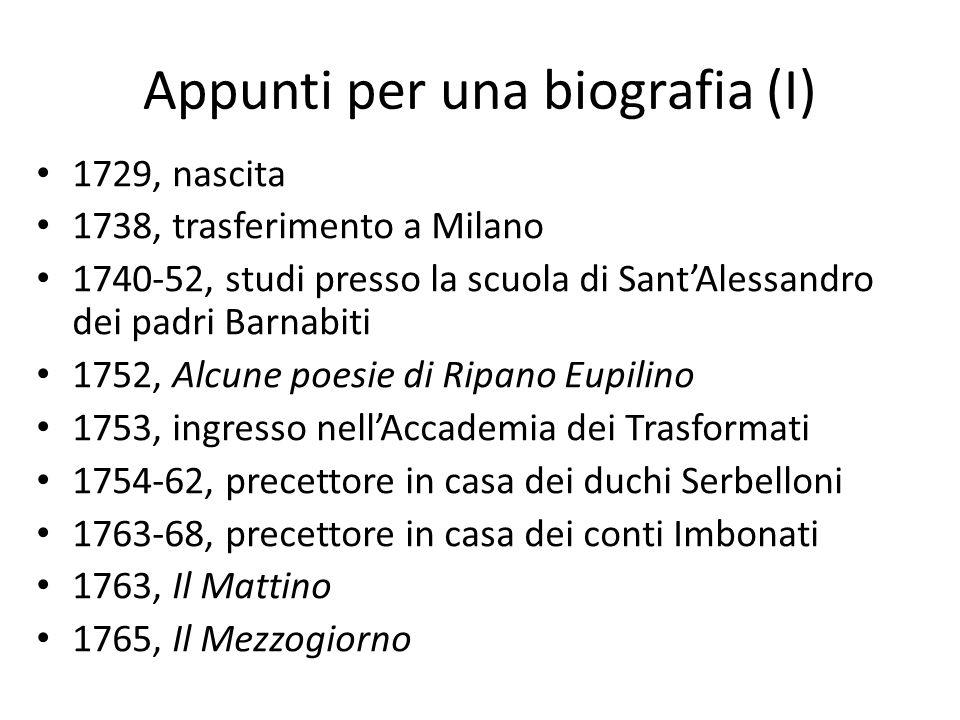 Appunti per una biografia (I)