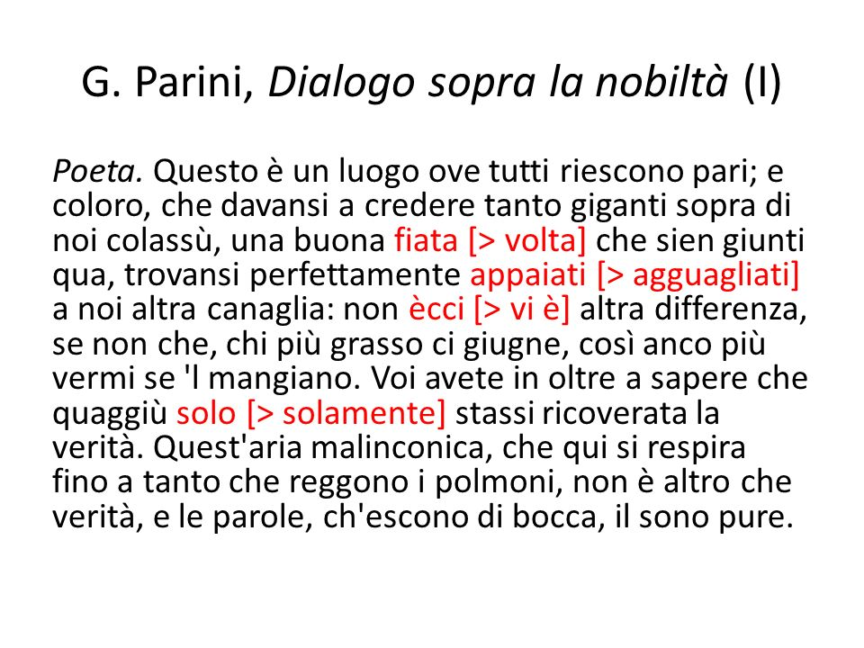 G. Parini, Dialogo sopra la nobiltà (I)