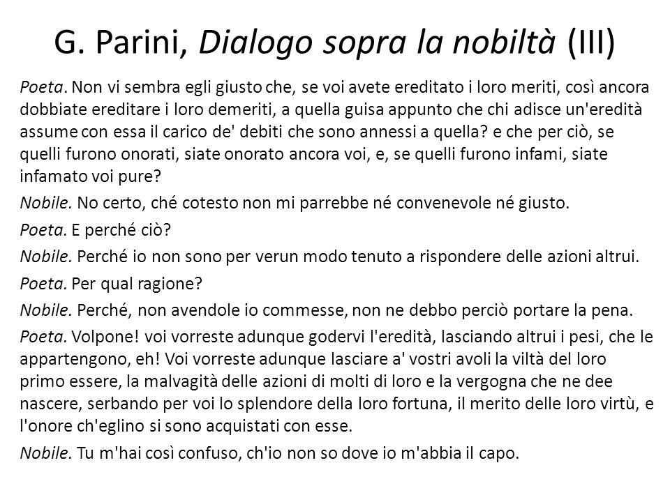 G. Parini, Dialogo sopra la nobiltà (III)