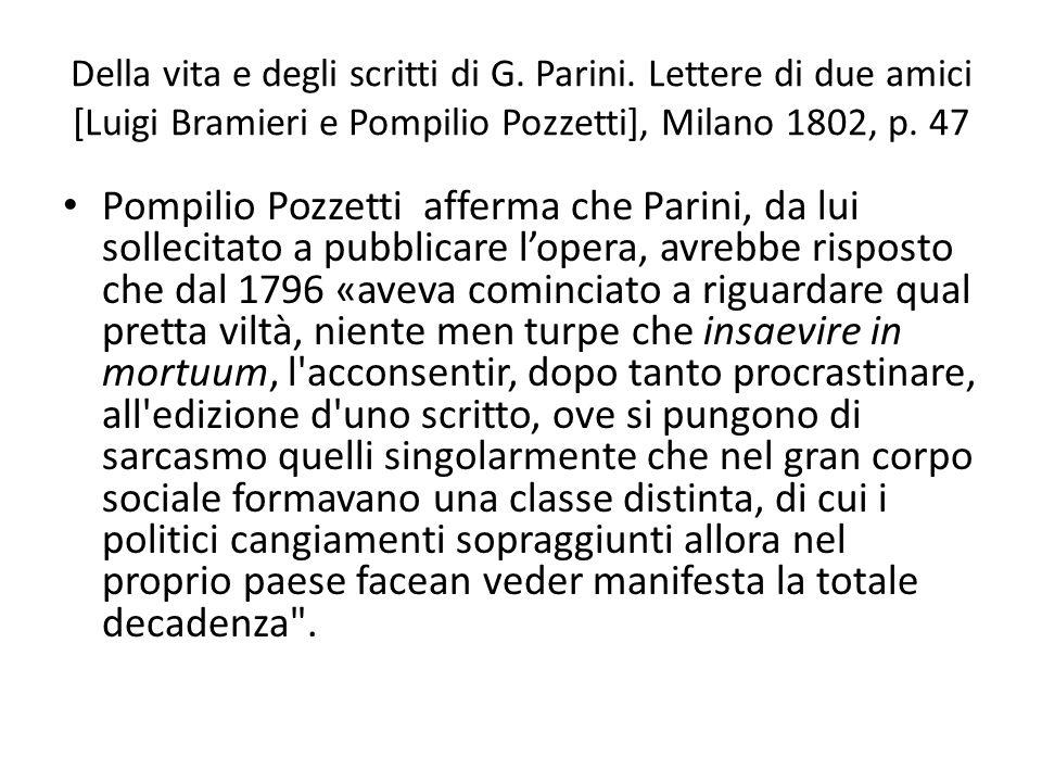 Della vita e degli scritti di G. Parini