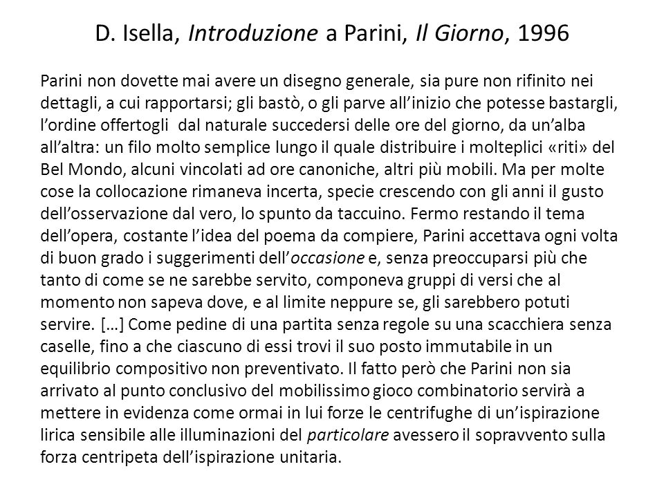 D. Isella, Introduzione a Parini, Il Giorno, 1996