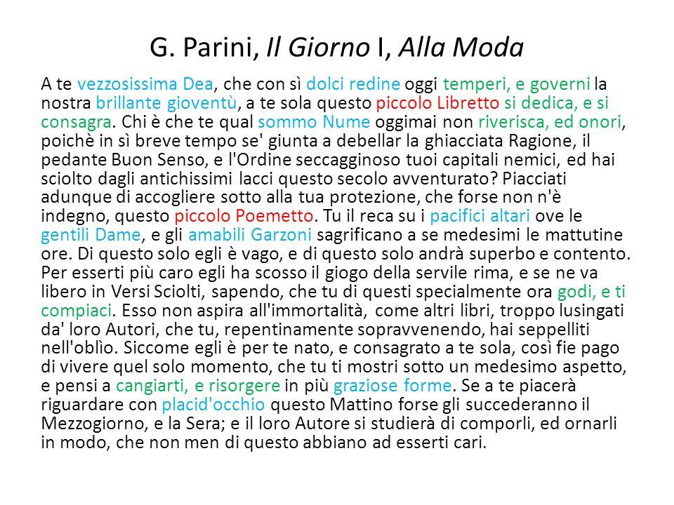 G. Parini, Il Giorno I, Alla Moda