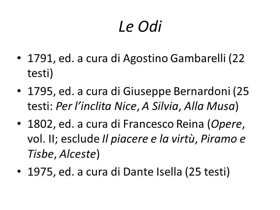 Le Odi 1791, ed. a cura di Agostino Gambarelli (22 testi)