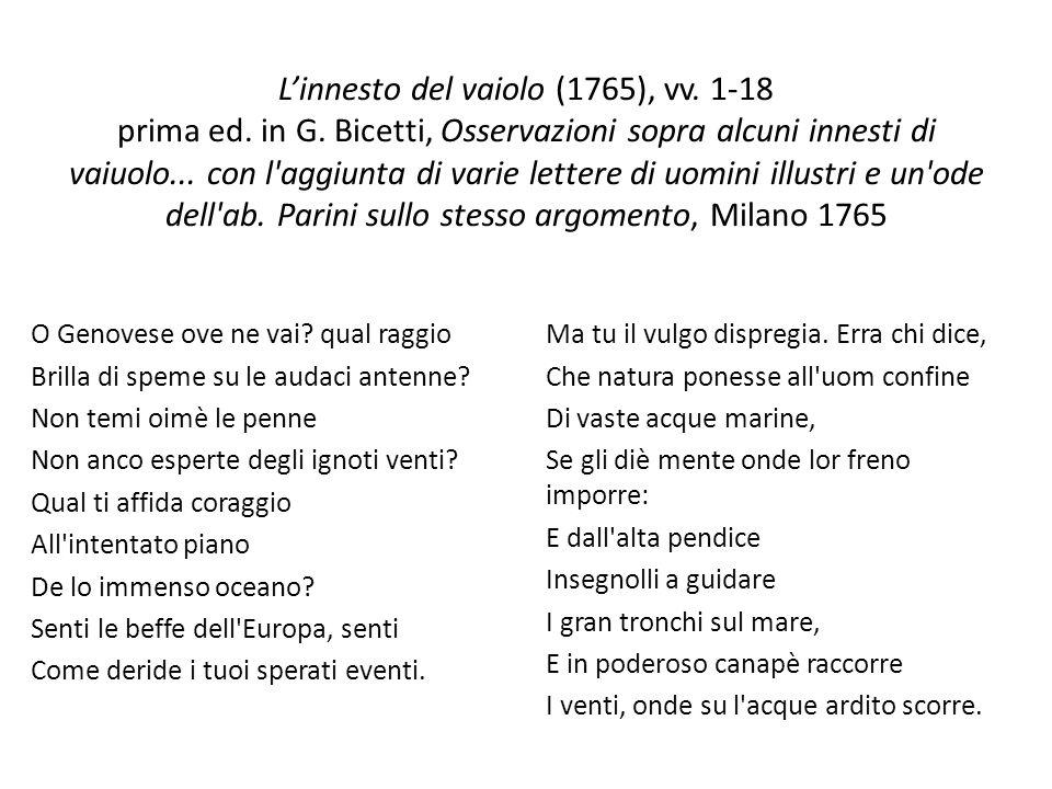 L'innesto del vaiolo (1765), vv. 1-18 prima ed. in G
