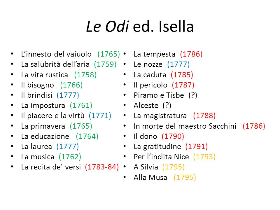 Le Odi ed. Isella L'innesto del vaiuolo (1765)