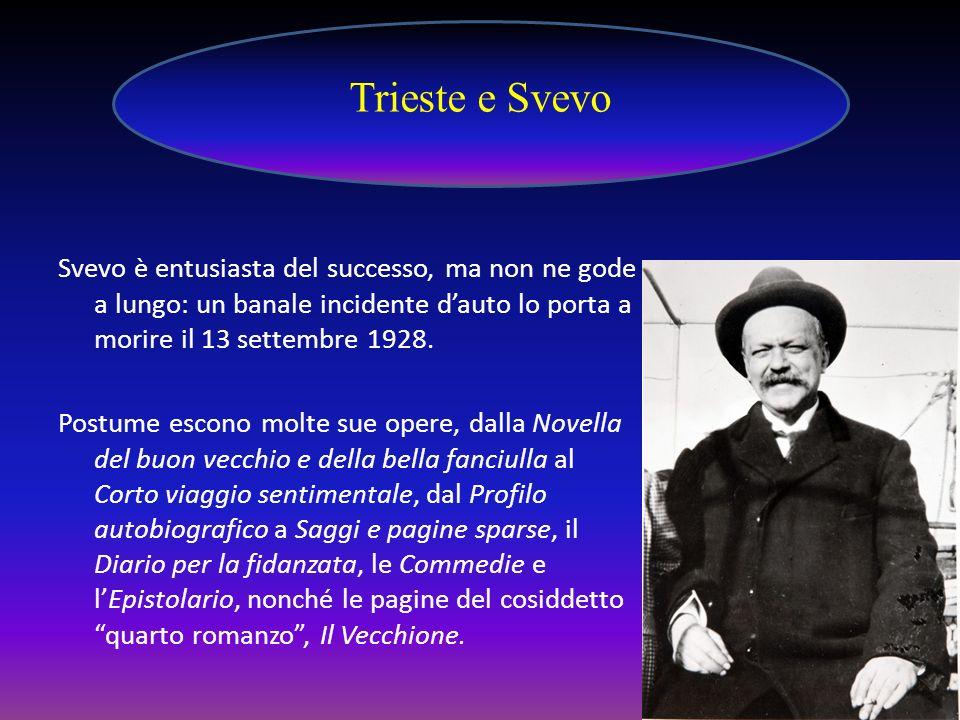 Trieste e Svevo Svevo è entusiasta del successo, ma non ne gode a lungo: un banale incidente d'auto lo porta a morire il 13 settembre 1928.