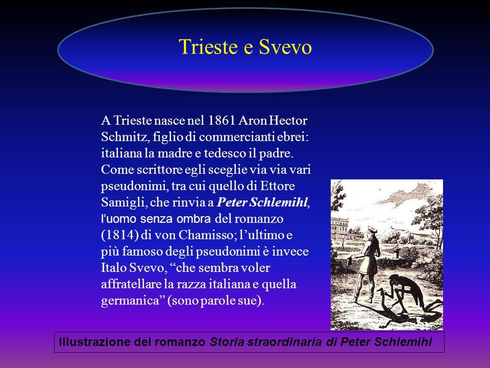 Trieste e Svevo A Trieste nasce nel 1861 Aron Hector Schmitz, figlio di commercianti ebrei: italiana la madre e tedesco il padre.