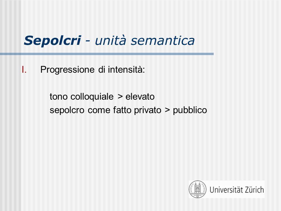 Sepolcri - unità semantica