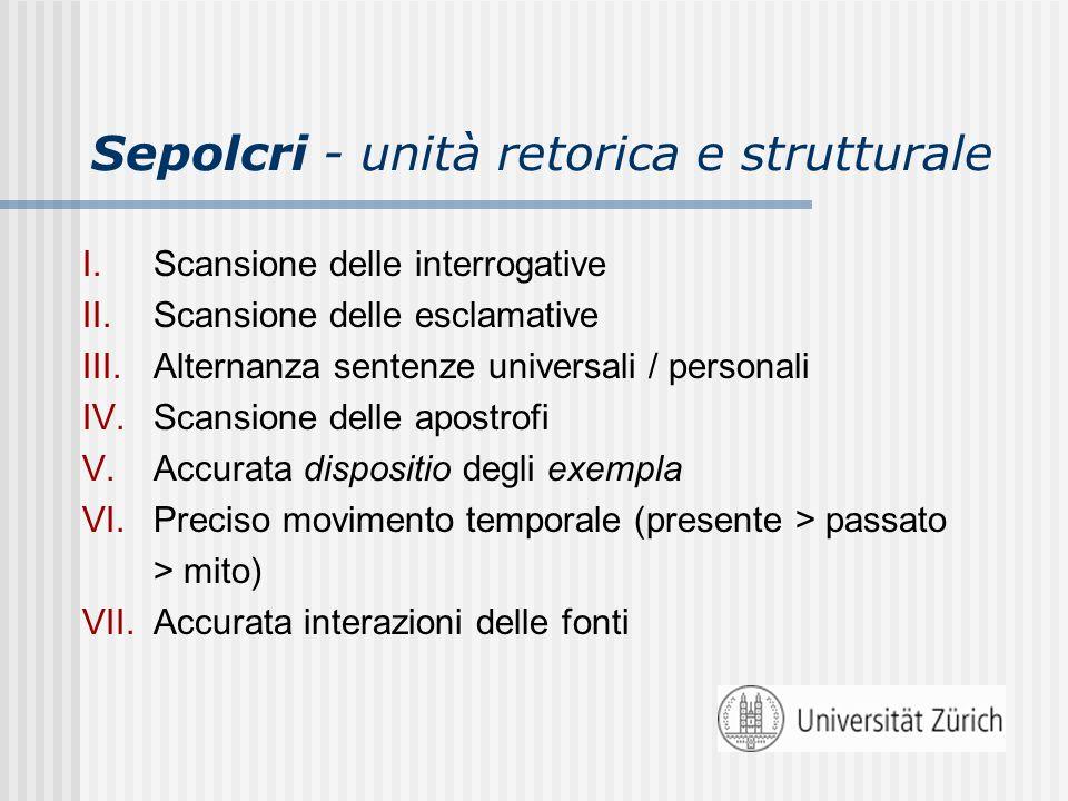 Sepolcri - unità retorica e strutturale