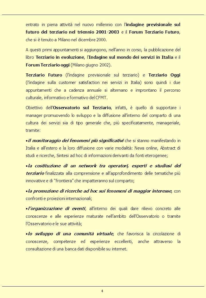 entrato in piena attività nel nuovo millennio con l'indagine previsionale sul futuro del terziario nel triennio 2001-2003 e il Forum Terziario Futuro, che si è tenuto a Milano nel dicembre 2000.