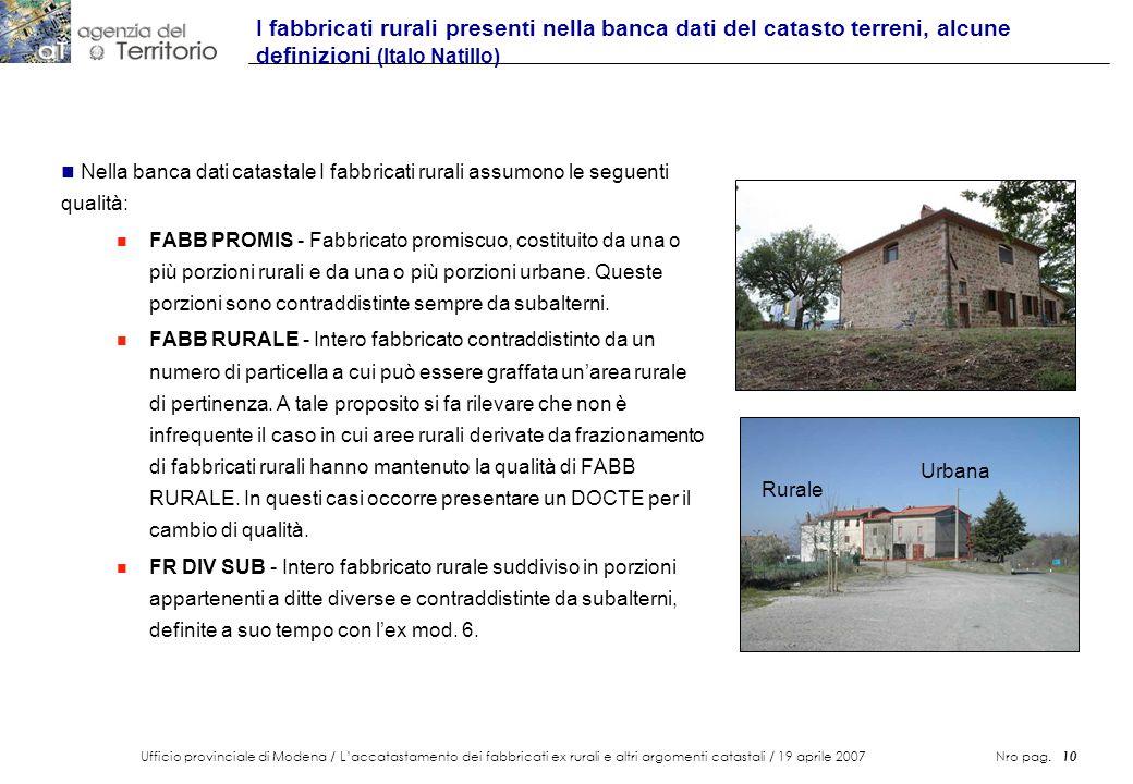 I fabbricati rurali presenti nella banca dati del catasto terreni, alcune definizioni (Italo Natillo)
