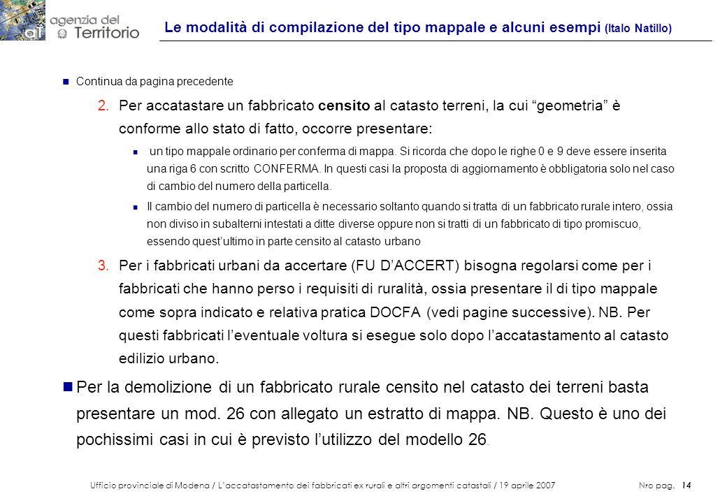 Le modalità di compilazione del tipo mappale e alcuni esempi (Italo Natillo)