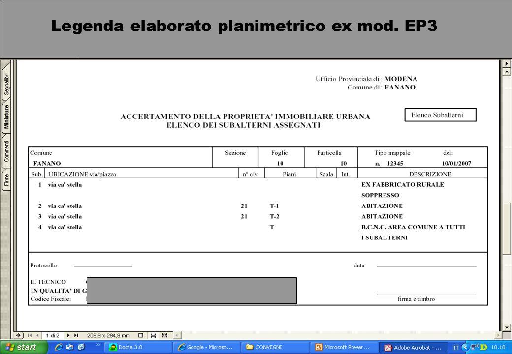 Legenda elaborato planimetrico ex mod. EP3