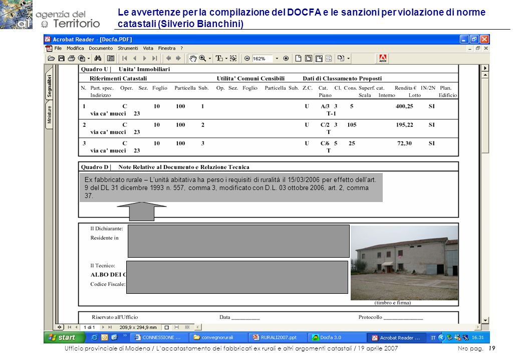 Le avvertenze per la compilazione del DOCFA e le sanzioni per violazione di norme catastali (Silverio Bianchini)