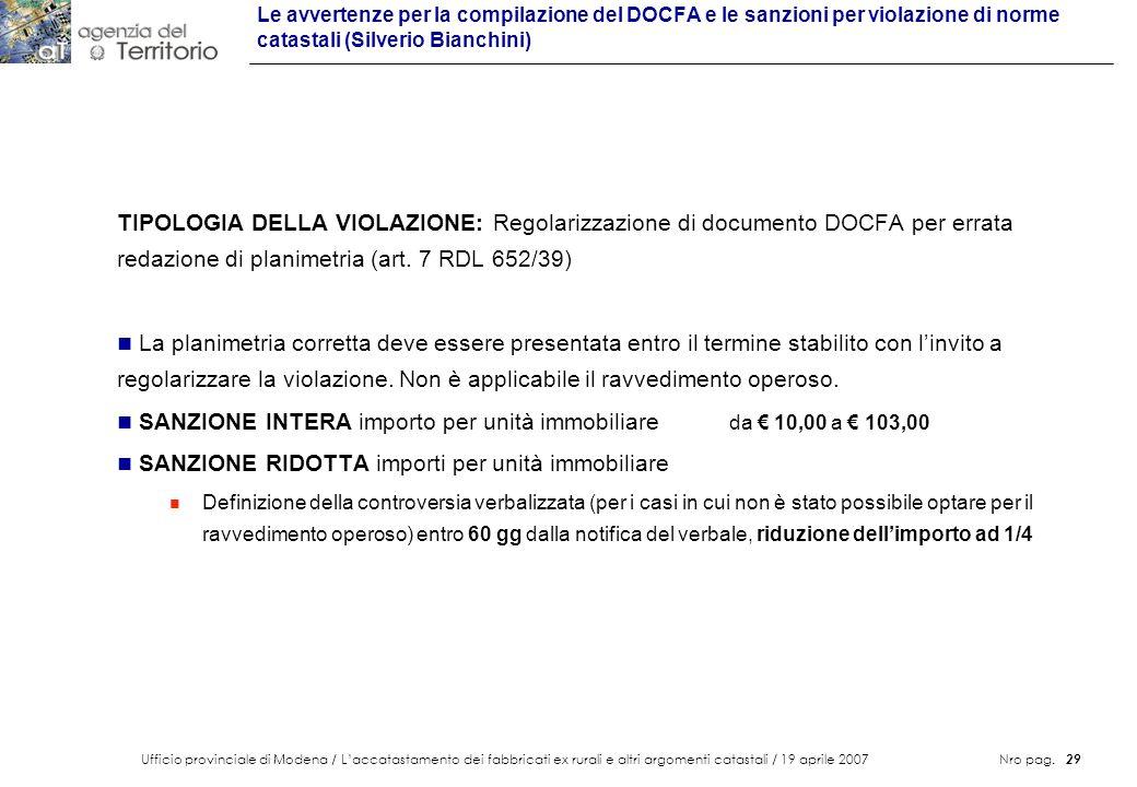 SANZIONE INTERA importo per unità immobiliare da € 10,00 a € 103,00