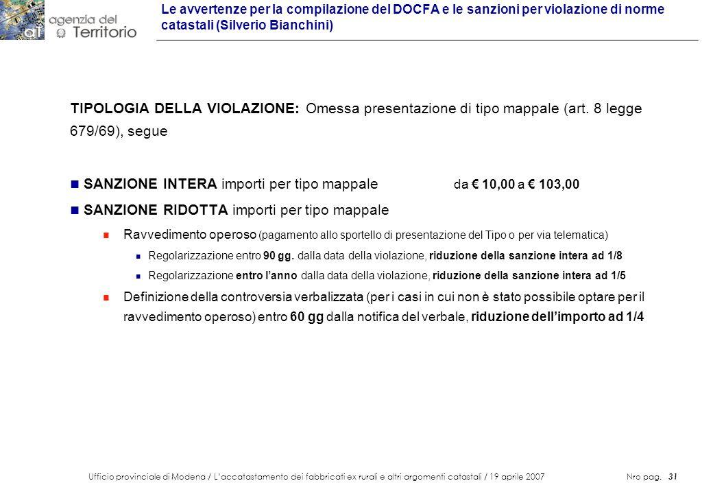 SANZIONE INTERA importi per tipo mappale da € 10,00 a € 103,00