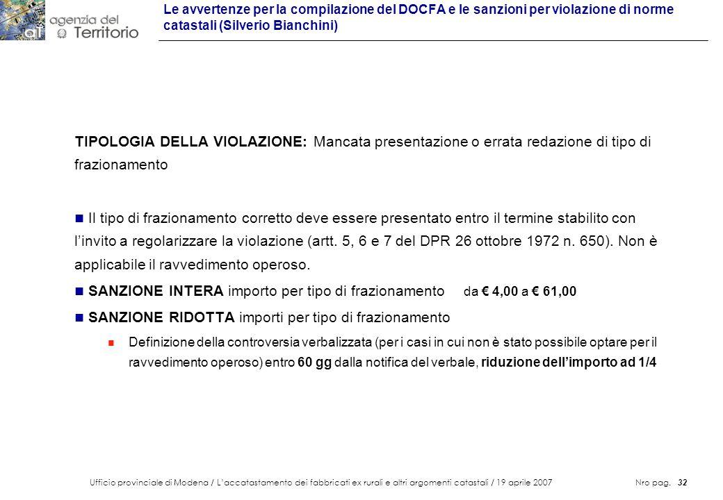SANZIONE INTERA importo per tipo di frazionamento da € 4,00 a € 61,00