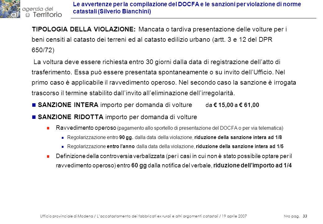 SANZIONE INTERA importo per domanda di volture da € 15,00 a € 61,00