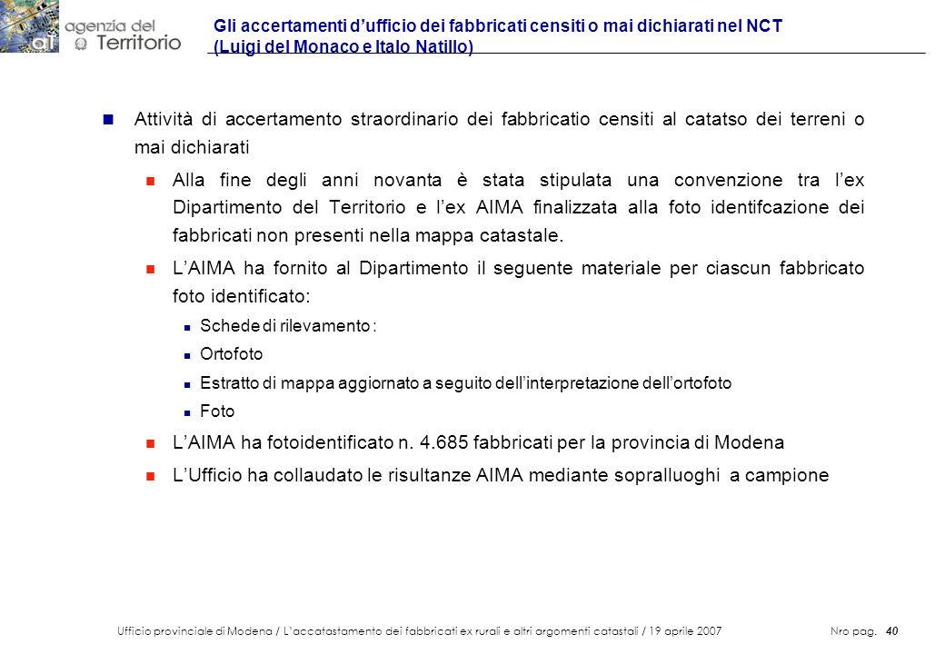 Gli accertamenti d'ufficio dei fabbricati censiti o mai dichiarati nel NCT (Luigi del Monaco e Italo Natillo)