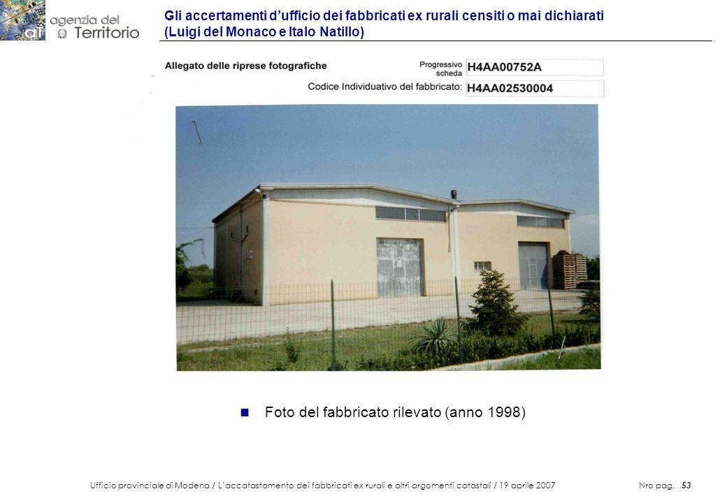 Foto del fabbricato rilevato (anno 1998)
