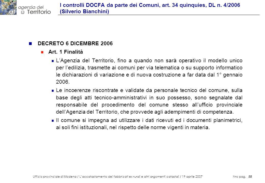 I controlli DOCFA da parte dei Comuni, art. 34 quinquies, DL n