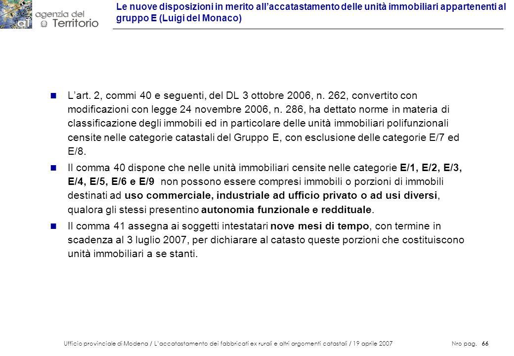 Le nuove disposizioni in merito all'accatastamento delle unità immobiliari appartenenti al gruppo E (Luigi del Monaco)