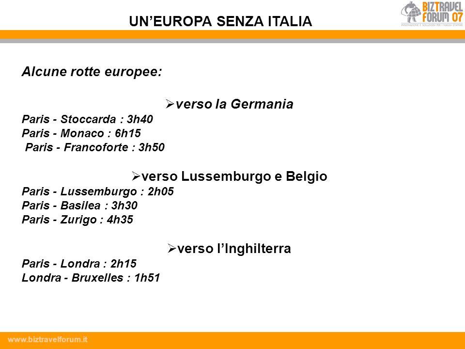 UN'EUROPA SENZA ITALIA verso Lussemburgo e Belgio