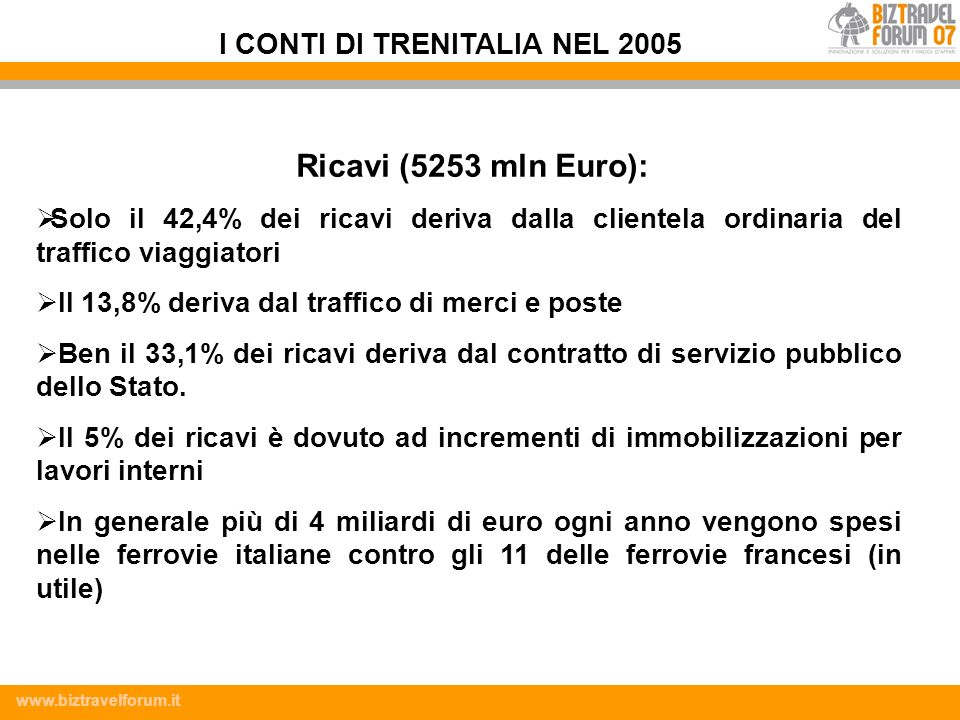 I CONTI DI TRENITALIA NEL 2005