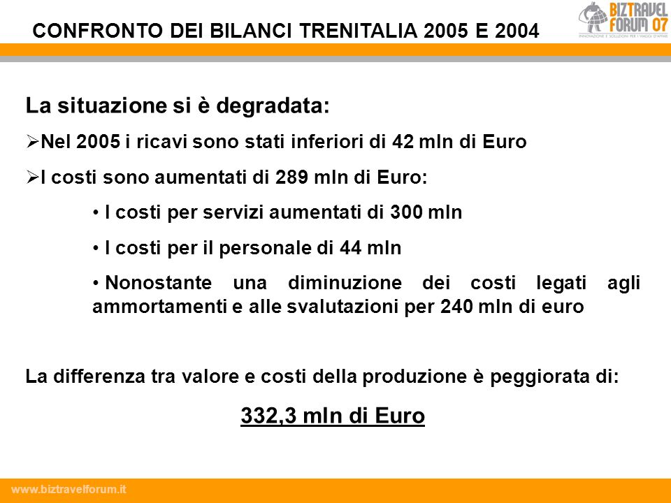 CONFRONTO DEI BILANCI TRENITALIA 2005 E 2004