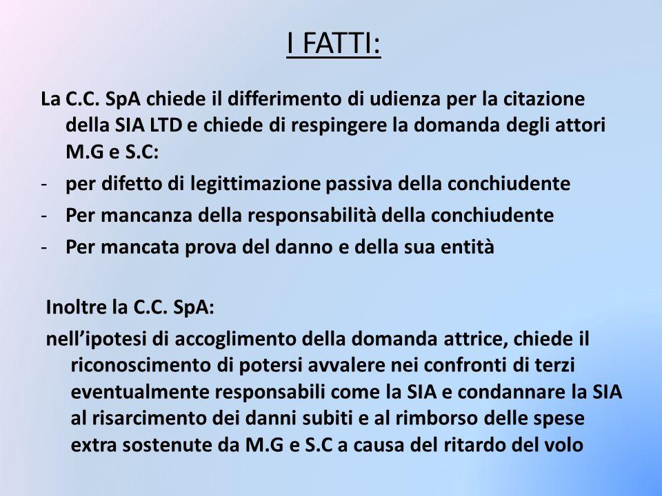 I FATTI: La C.C. SpA chiede il differimento di udienza per la citazione della SIA LTD e chiede di respingere la domanda degli attori M.G e S.C: