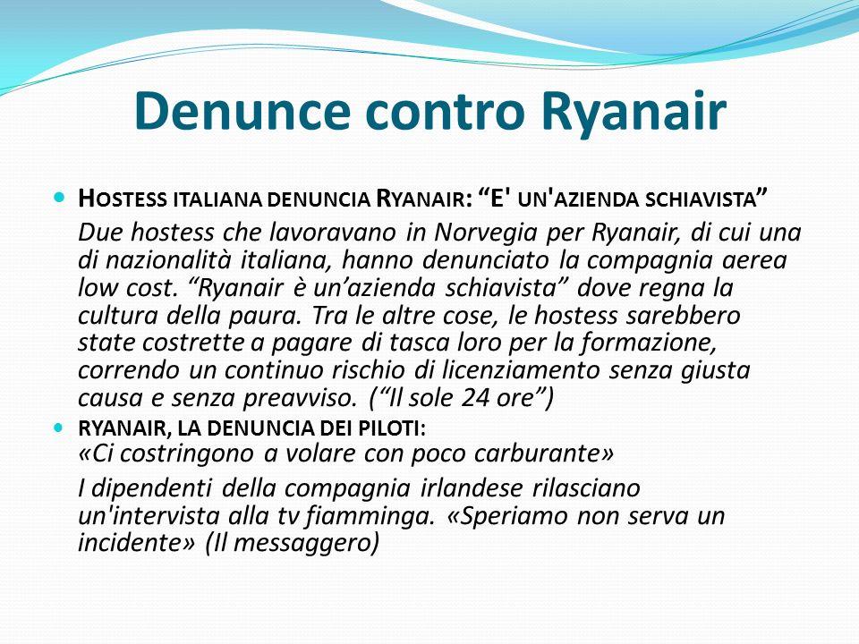 Denunce contro Ryanair