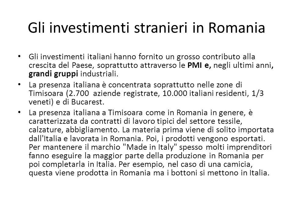 Gli investimenti stranieri in Romania