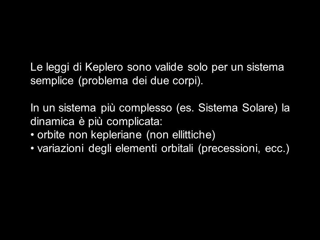 Le leggi di Keplero sono valide solo per un sistema semplice (problema dei due corpi).