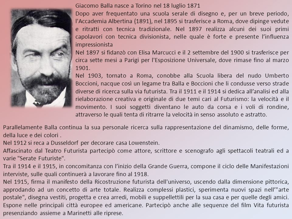 Giacomo Balla nasce a Torino nel 18 luglio 1871